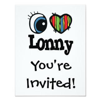 """I Heart (Love) Lonny 4.25"""" X 5.5"""" Invitation Card"""