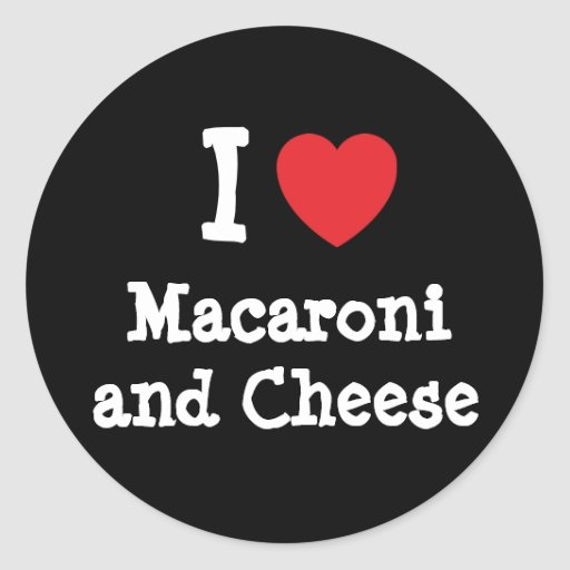 I heart (love) Macaroni and Cheese Stickers