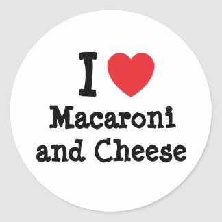 I heart (love) Macaroni and Cheese Round Stickers