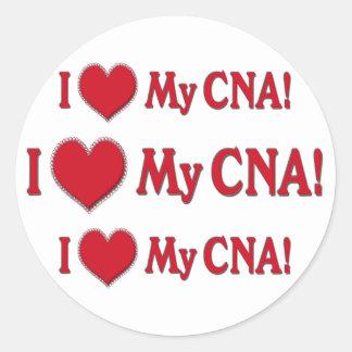 I Heart / LOVE My CNA - CERTIFIED NURSE ASSISTANT Round Sticker