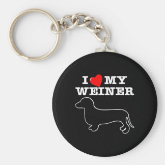 I (Heart) Love My Weiner Dog Basic Round Button Keychain