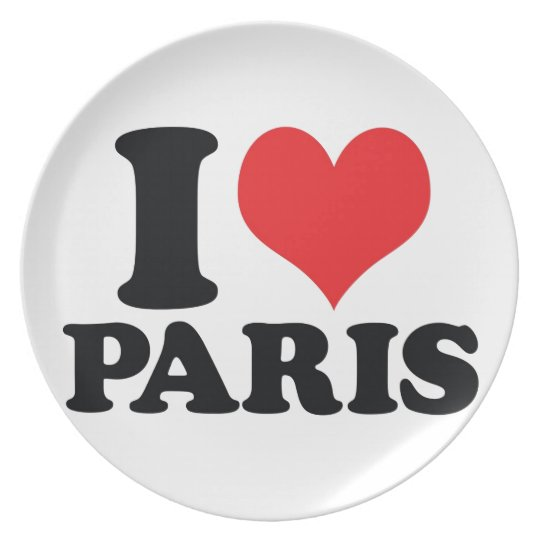 I Heart / love Paris Plate