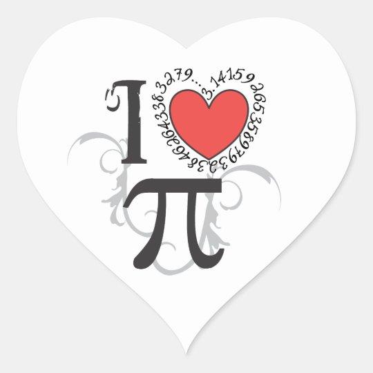 I Heart (LoVe) Pi Day Stickers - 3.14 Pi Symbol