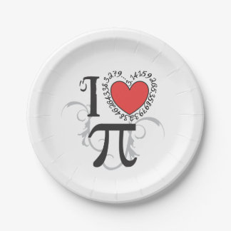 I Heart (LoVe) Pi Paper Plate