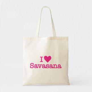 I heart love savasana yoga meditation tote budget tote bag