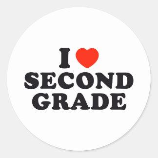 I Heart / Love Second Grade Classic Round Sticker