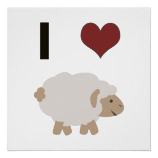I heart (love) sheep perfect poster