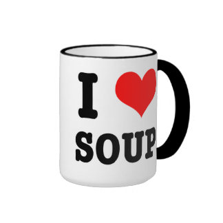 I HEART (LOVE) SOUP RINGER COFFEE MUG