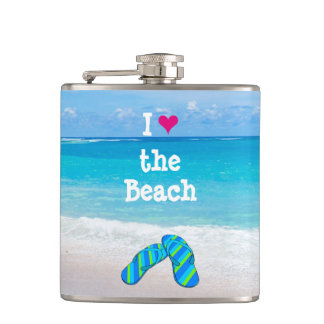 I Heart (Love) the Beach Flip Flops in the Sand Hip Flask