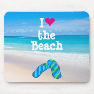 I Heart (Love) the Beach Flip Flops in the Sand Mouse Pad