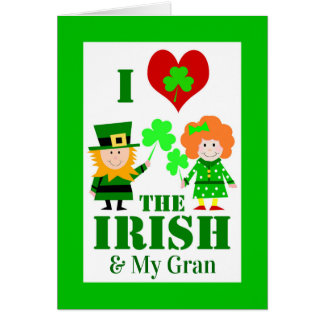 I Heart / Love the Irish & My Gran, St. Patrick's Card