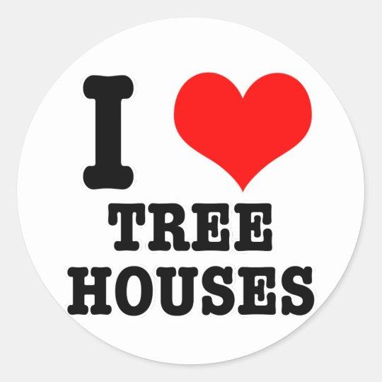 I HEART (LOVE) TREE HOUSES CLASSIC ROUND STICKER