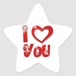 I Heart/Love You Star Stickers