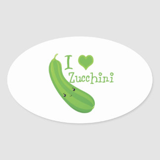 I Heart (love) Zucchini Oval Sticker
