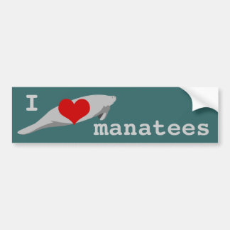 I heart Manatees bumper sticker