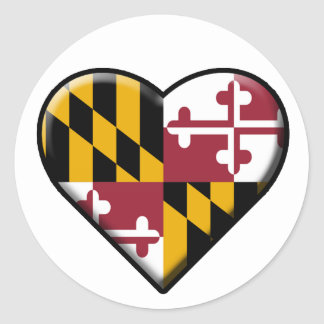 I Heart Maryland Decal (set of 6) Classic Round Sticker