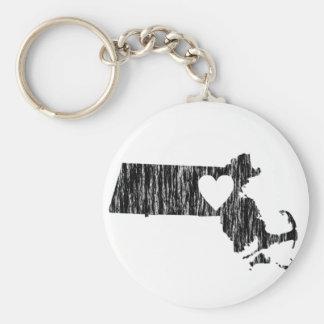I Heart Massachusetts Grunge Outline State Love Keychain