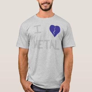 i heart metal white on gray T-Shirt