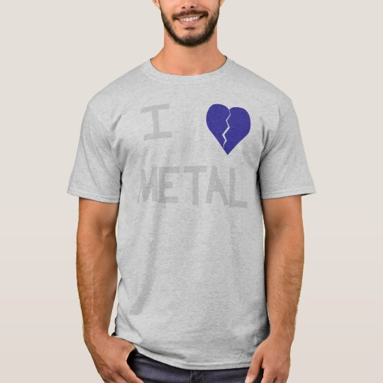 i heart metal white on grey T-Shirt