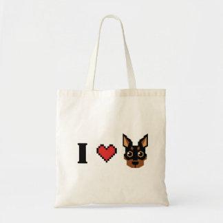 i heart min pin shopping bag - black tan