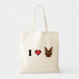 i heart min pin shopping bag - chocolate tan