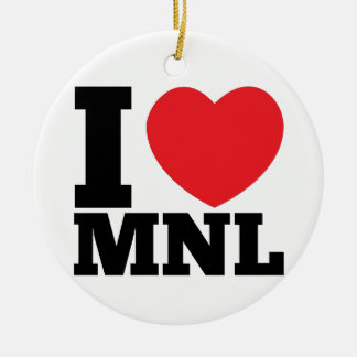 I Heart MNL Double-Sided Ceramic Round Christmas Ornament