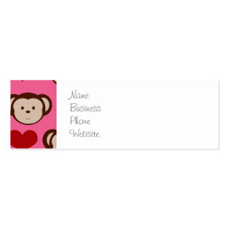 I Heart Monkey Pink I Love Monkeys Valentines Double-Sided Mini Business Cards (Pack Of 20)