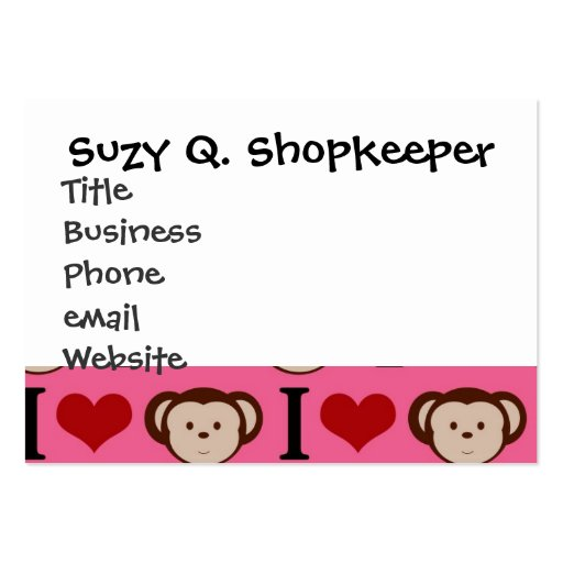 I Heart Monkey Pink I Love Monkeys Valentines Business Card Template