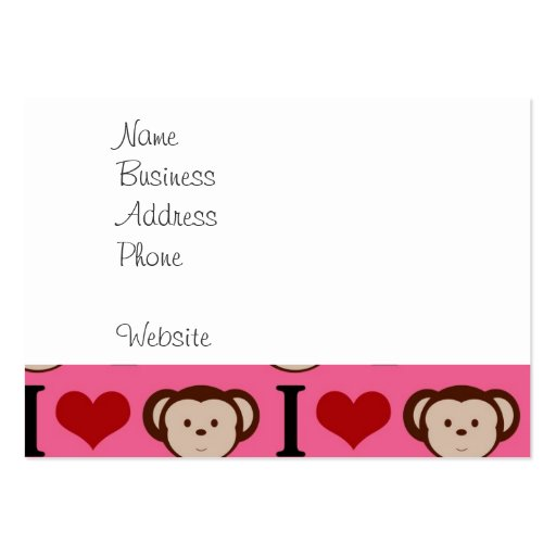 I Heart Monkey Pink I Love Monkeys Valentines Business Card
