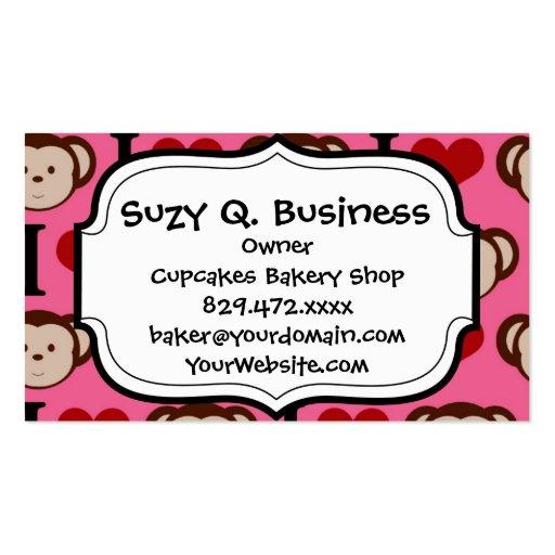 I Heart Monkey Pink I Love Monkeys Valentines Business Cards