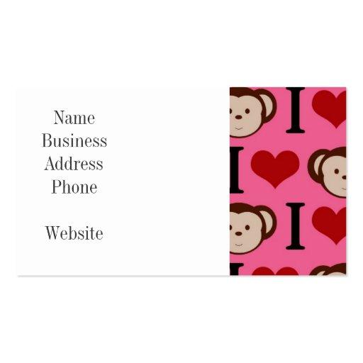I Heart Monkey Pink I Love Monkeys Valentines Business Card Templates