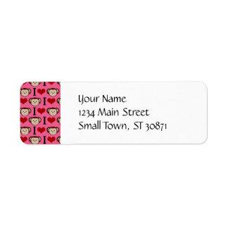 I Heart Monkey Pink I Love Monkeys Valentines Return Address Label