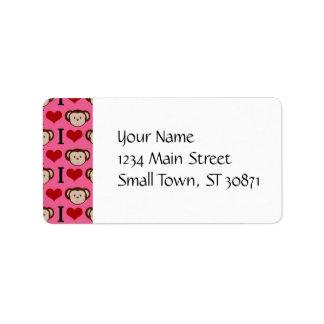 I Heart Monkey Pink I Love Monkeys Valentines Address Label