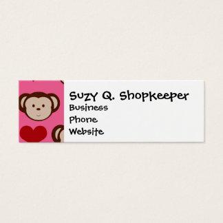 I Heart Monkey Pink I Love Monkeys Valentines Mini Business Card