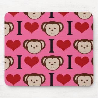 I Heart Monkey Pink I Love Monkeys Valentines Mouse Pad