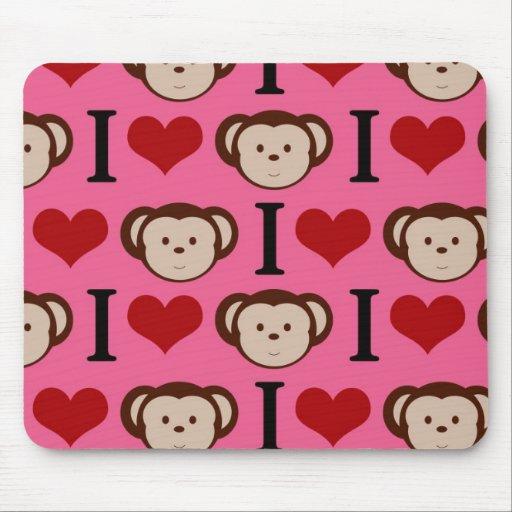 I Heart Monkey Pink I Love Monkeys Valentines Mousepad
