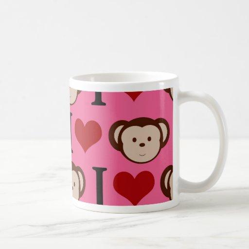 I Heart Monkey Pink I Love Monkeys Valentines Mugs