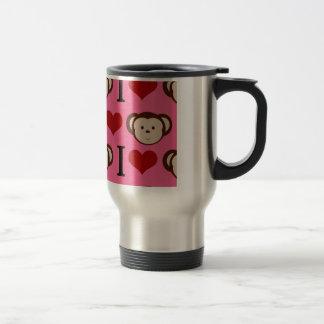 I Heart Monkey Pink I Love Monkeys Valentines Coffee Mugs