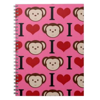 I Heart Monkey Pink I Love Monkeys Valentines Notebook