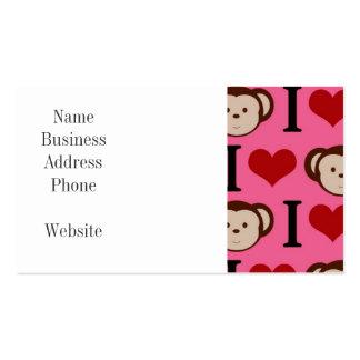 I Heart Monkey Pink I Love Monkeys Valentines Pack Of Standard Business Cards
