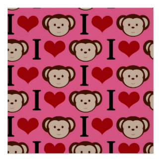 I Heart Monkey Pink I Love Monkeys Valentines Posters