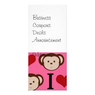I Heart Monkey Pink I Love Monkeys Valentines Custom Rack Cards