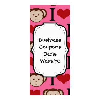 I Heart Monkey Pink I Love Monkeys Valentines Full Color Rack Card