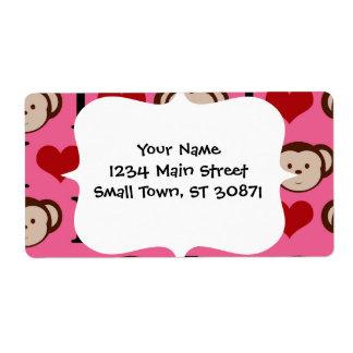 I Heart Monkey Pink I Love Monkeys Valentines Shipping Label