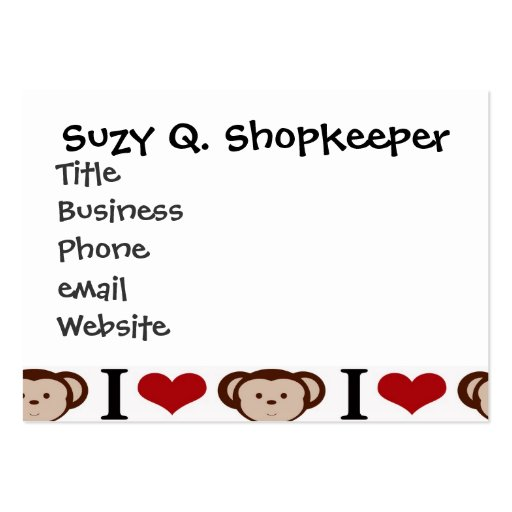 I Heart Monkeys I Love Monkey Valentines Gift Business Card