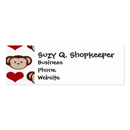 I Heart Monkeys I Love Monkey Valentines Gift Business Card Templates