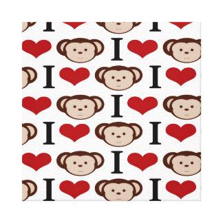 I Heart Monkeys I Love Monkey Valentines Gift Gallery Wrap Canvas