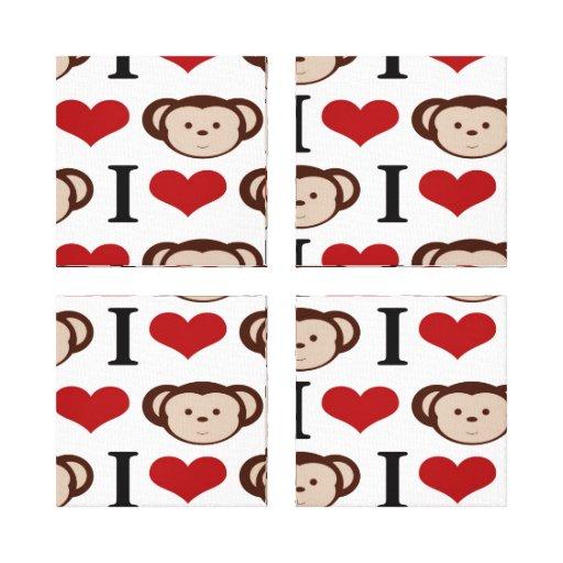 I Heart Monkeys I Love Monkey Valentines Gift Stretched Canvas Print