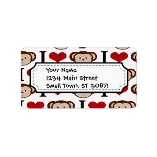 I Heart Monkeys I Love Monkey Valentines Gift Custom Address Label