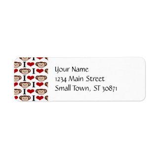 I Heart Monkeys I Love Monkey Valentines Gift Return Address Label
